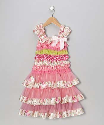 Pink & Lime Floral Tier Ruffle Dress - Infant, Toddler & Girls