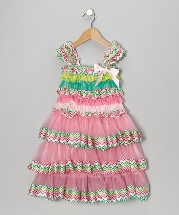Pink & Teal Zigzag Tier Ruffle Dress - Infant, Toddler & Girls