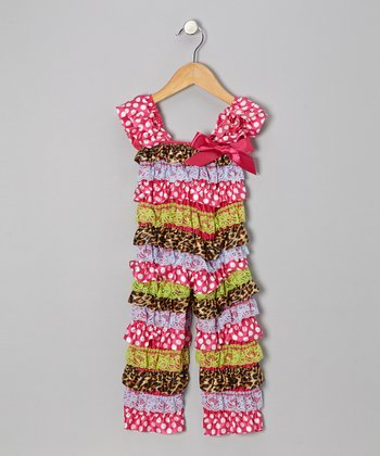 Hot Pink & Lime Polka Dot Jumpsuit - Infant & Toddler