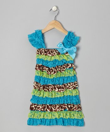 Teal & Lime Lace Ruffle Cap-Sleeve Dress - Infant, Toddler & Girls