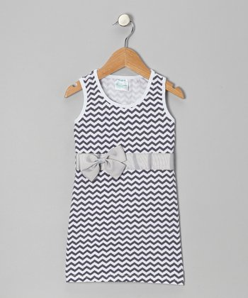 Gray Zigzag Bow Shift Dress - Infant, Toddler & Girls