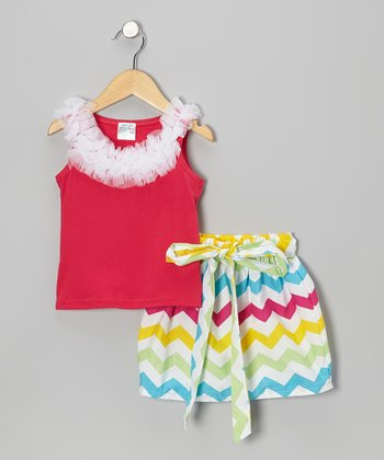 Hot Pink Ruffle Tank & Rainbow Zigzag Skirt - Infant, Toddler & Girls