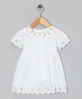 White Embroidered Cherry Dress - Toddler