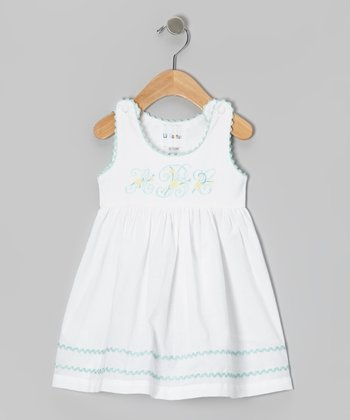 White & Blue 'ABC' Dress - Infant & Toddler