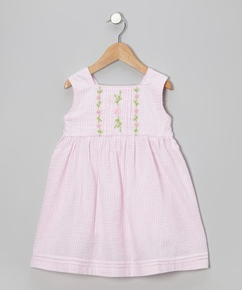 Pink Stripe Flower Seersucker Dress - Toddler & Girls