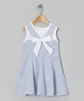 Blue Stripe Bow Seersucker Dress - Toddler & Girls