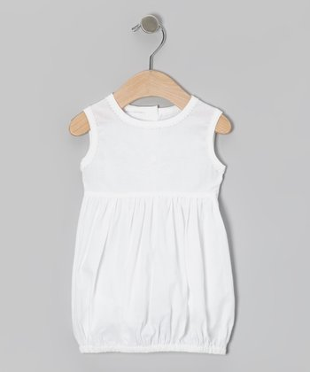 White Swirl Flower Bubble Dress - Infant & Toddler