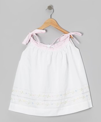 White Flower Ribbon-Tie Dress - Infant & Toddler