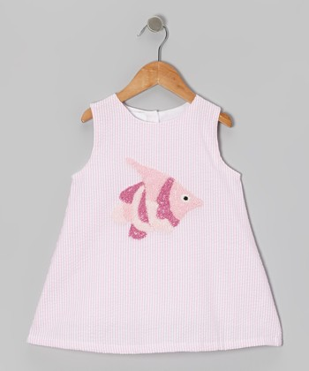 Pink Stripe Fish Seersucker Dress - Toddler