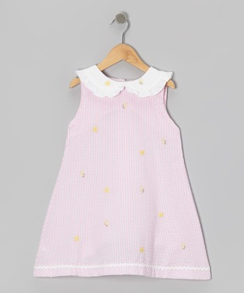 Pink Stripe Bumble Bee Seersucker Dress - Toddler & Girls