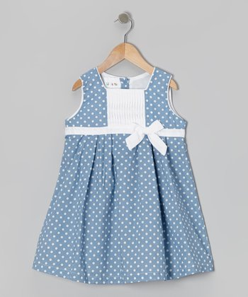 Blue Polka Dot Bow Dress - Toddler & Girls