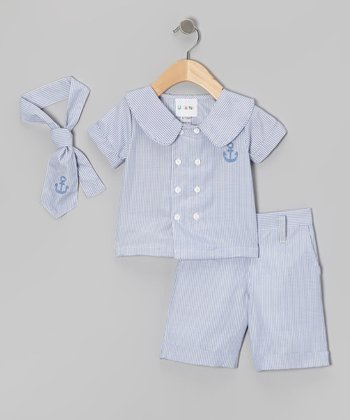 Blue Stripe Anchor Button-Up Set - Infant & Toddler