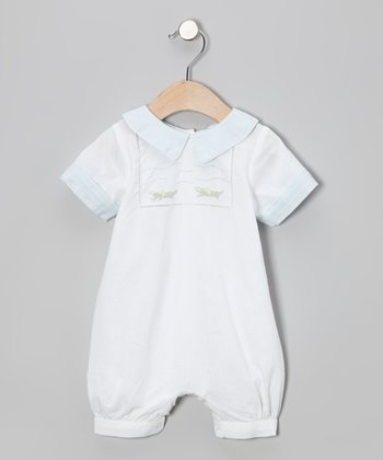 White & Blue Alligator Romper - Infant