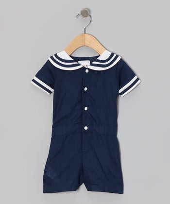Blue Sailor Romper - Infant
