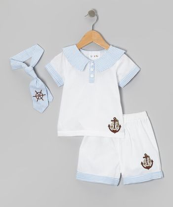 Blue & White Stripe Polo Set - Infant & Toddler