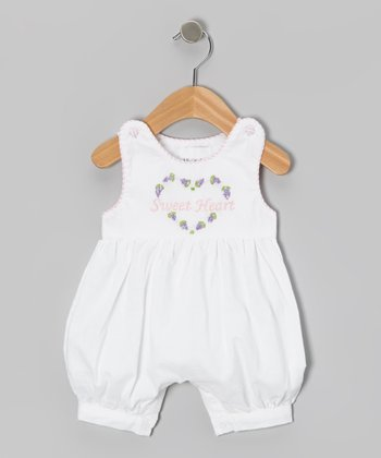 White 'Sweet Heart' Romper - Infant