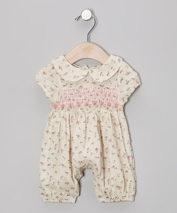 Cream & Pink Floral Smocked Romper - Infant
