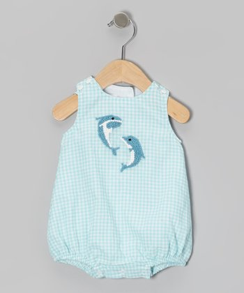 Aqua Gingham Dolphin Seersucker Bodysuit - Infant