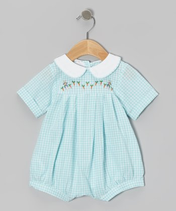 Aqua Gingham Carrot Romper - Infant