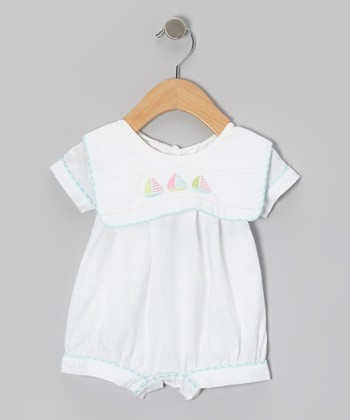 White Sailboat Bib Romper - Infant