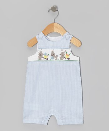 Blue Stripe Bunny Romper - Infant