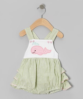 Green Gingham Dolphin Skirted Bodysuit - Infant