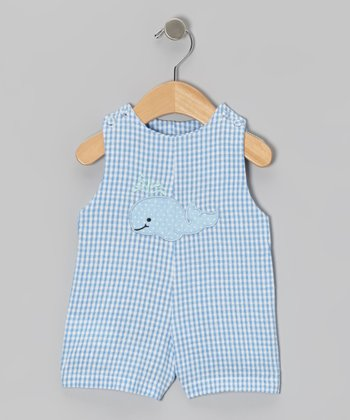 Blue Gingham Whale Seersucker Romper - Infant