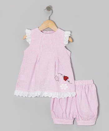 Pink Gingham Ladybug Tank & Shorts - Toddler