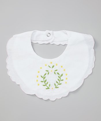 White & Pink Leaf Bib
