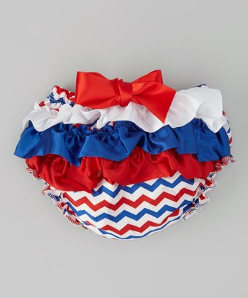 Red & Navy Zigzag Ruffle Diaper Cover - Infant & Toddler