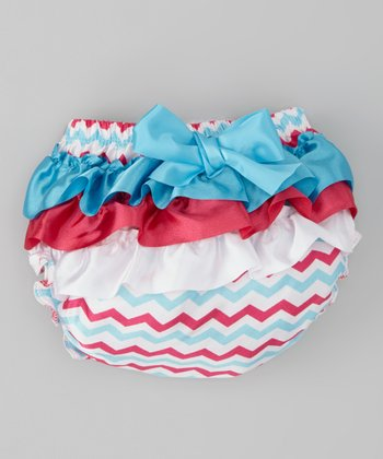 Turquoise & Hot Pink Zigzag Ruffle Diaper Cover - Infant & Toddler