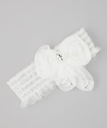 White Rosette Crocheted Headband