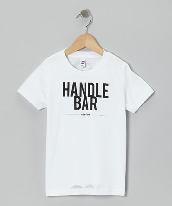 White 'Handle Bar Stache' Tee - Toddler & Kids