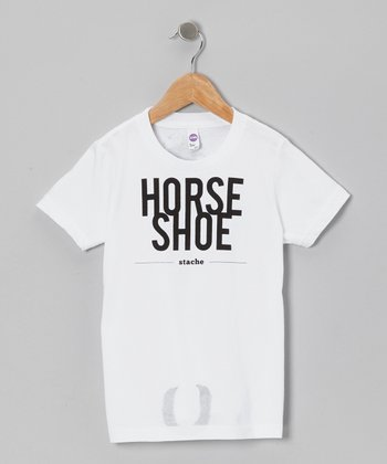 White 'Horse Shoe Stache' Tee - Toddler & Kids