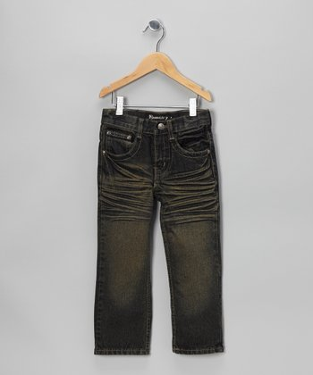 Vintage Wash Distressed Straight-Leg Jeans