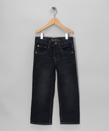 Dark Wash Flap-Pocket Straight-Leg Jeans