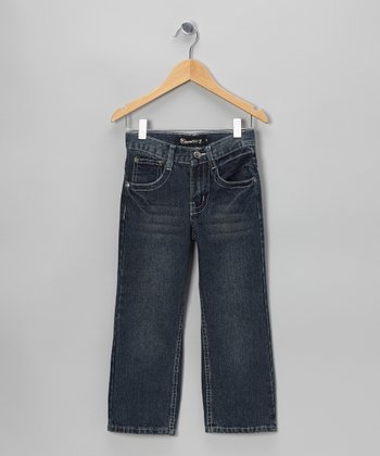 Medium Wash Flap-Pocket Straight-Leg Jeans
