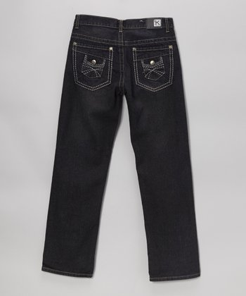 Dark Wash Double-Pocket Straight-Leg Jeans