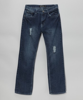 Medium Wash Button-Pocket Straight-Leg Jeans