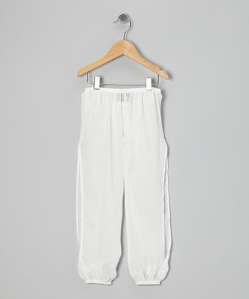Ivory Chiffon Beach Pants - Girls