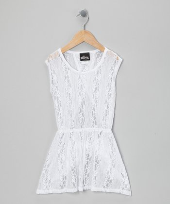 White Lace Cover-Up - Girls
