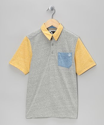 Yellow & Gray Tempest Pocket Polo - Boys
