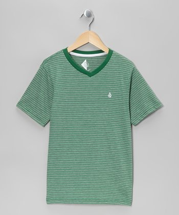 Green Three Feed Stripe V-Neck Tee - Boys