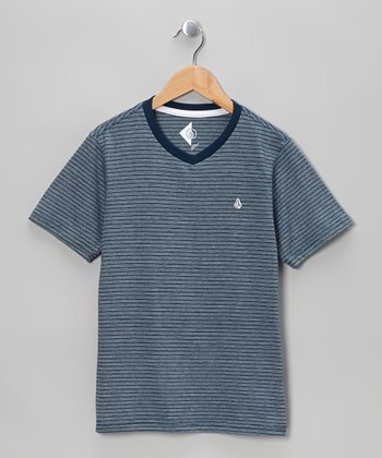 Navy Three Feed Stripe V-Neck Tee - Boys