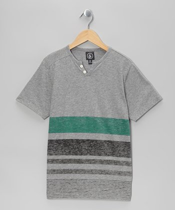 Heather Gray & Green Stripe Henley - Boys