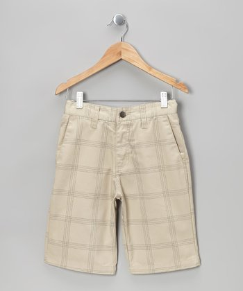 Stone Plaid Chino Shorts - Boys