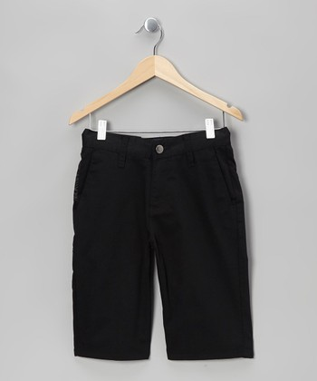 Black Linestone Shorts - Boys