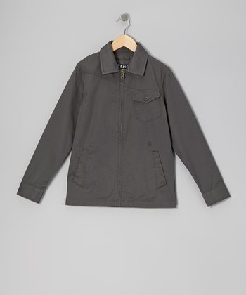 Dark Gray Ticker Jacket - Boys