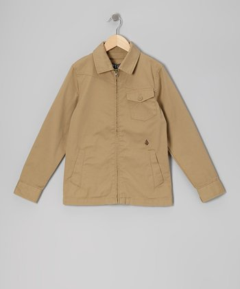 Dark Khaki Ticker Jacket - Boys