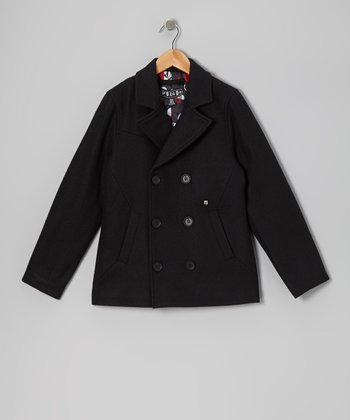 Black Rudder Wool-Blend Peacoat - Boys